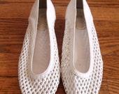 White Leather Woven Kitten Heel Flats