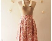 Floral Lady Look Pleated Mid Skirt Pink Floral Skirt Vintage Inspired Skirt Shabby Chic Skirt Sweet Skirt in Pink Skirt -Size S-M-