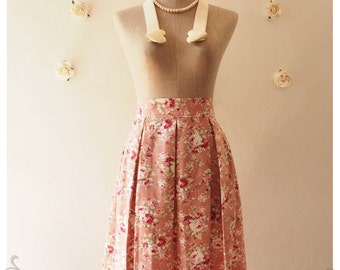 SALE Floral Lady Look Pleated Mid Skirt Pink Floral Skirt Vintage Inspired Skirt Shabby Chic Skirt Sweet Skirt in Pink Skirt -Size S-M-