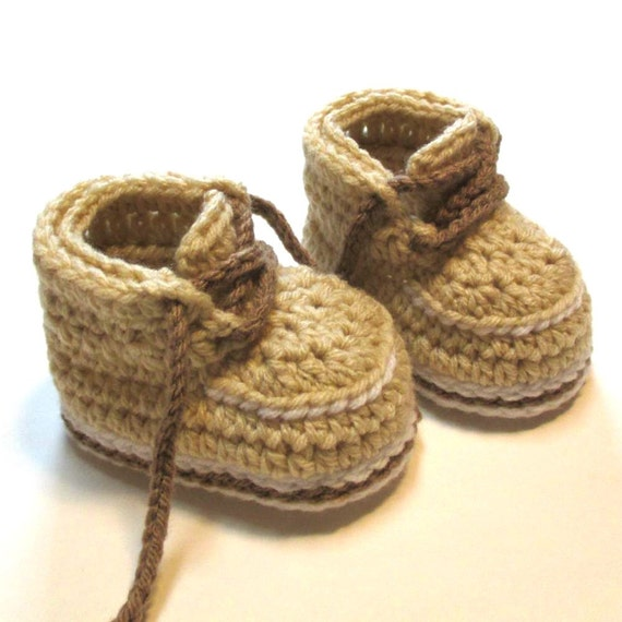 Baby booties. Crochet work boots. Ready to ship. 3-6