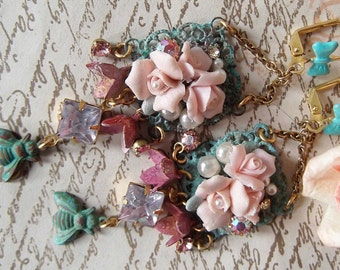 Verdigris Pink Roses Vintage Buds Crystals Bee & Faux Pearls Assemblage Earrings