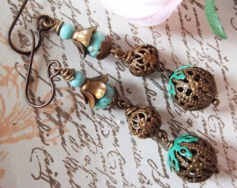 Chocolate Brass Filigree Bead Multi Drop & Turquoise Earrings