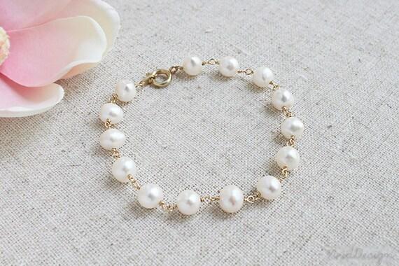 Simple Freshwater Pearl Bracelet, Wedding Pearls, June Birthstone, Everyday Elegance