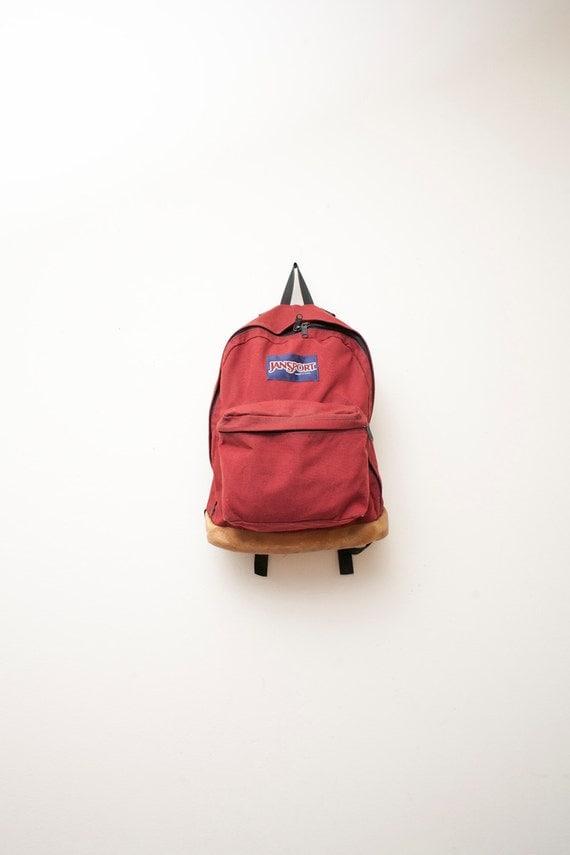 Vintage Maroon Jansport Backpack Thick Leather Bottom
