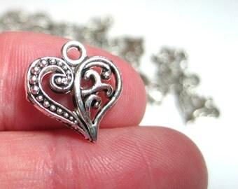 Silver Scroll Filigree Heart Charms (10)