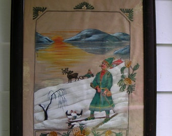 30s 40s Scandinavian FOLK ART Flannel Painted Embroidered Mahogany Frame Large