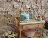 Dollhouse Miniature Shabby Chic Vintage Style Seafoam Light Turquoise Cake Box Cake Carrier
