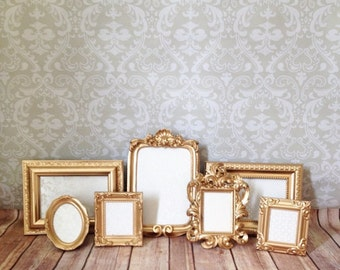 Small PICTURE FRAMES -Gold Glam - shabby chic wedding - photo display reception signage
