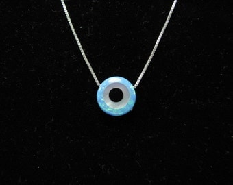 Original Opal Evil Eye Necklace, Sterling Silver Chain