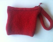 Red Wristlet, zippered wallet, red clutch, red purse, felted and lined with vegetable fabric