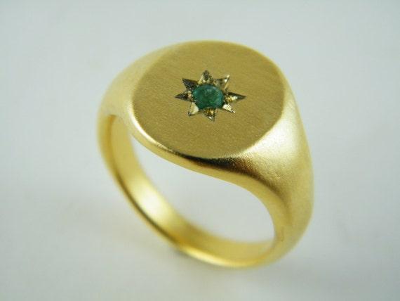 signet ring gold emerald ring zirkon ring ruby ring gold