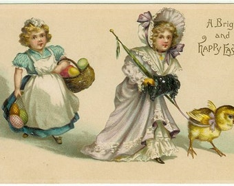 Vintage Easter Postcard, Victorian Girls, Holiday Post Card, Easter Greetings PC, Chick, Easter Egg Postcard, 1910s Paper Ephemera