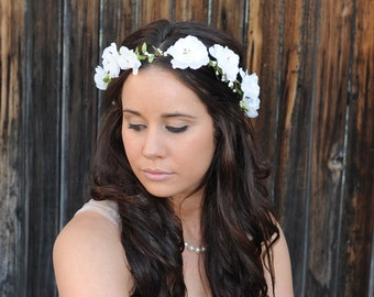 Flower Crown, Woodland Bridal Hair Wreath, Wedding Hair Piece, Floral Headpiece, Winter White Wedding Headband, Head Wreath, Australia,