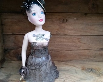 "Steampunk victorian assemblage doll with gears,found objects and a vintage glass globe with brown hankie for her gown ""Feeling my Blues"""