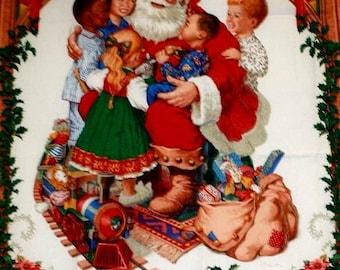 Christmas, Santa Claus, Santa's Children Wall Hanging, Santa Fabric, Santa Christmas Panel, Christmas Fabric, 1 panel, 03002