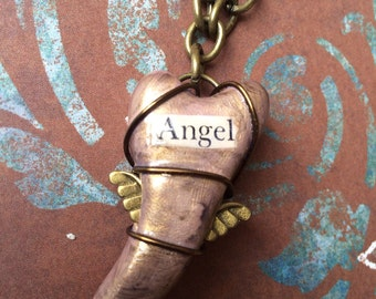 "Steampunk Wire Wrapped Winged Heart Pendant Necklace - Brass ""Angel"""