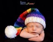 Rainbow Baby Elf Hat Photo Prop Beanie