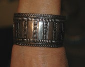 SOLD Outstanding Early Hand Stamped Heavy Sterling Bracelet by Navajo Artist Carson Blackgoat