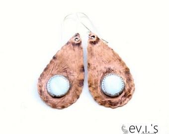 Paisley Teardrop White Shell Drop Earrings Copper Hand Cut Oxidized Luck Love Dangle Ethnic Boho Hippie Gemstone Bezel by evismetalwork