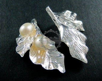 6pcs 22x33mm silver flower leaf with fresh water pearl DIY pendant charm jewelry supplies 1820166