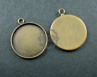 20pcs 18mm setting size one loop vintage style bronze round bezel tray DIY pendant charm supplies 1411051