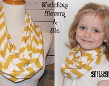 Mommy & Me Save on 2 Matching Mom and Daughter Mustard Chevron Zig Zag Infinity Scarf Scarves Amy Anne