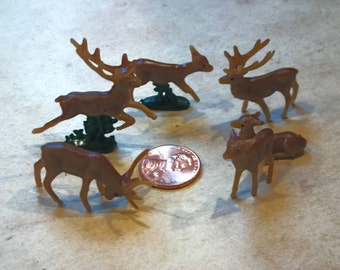 6 Tiny Miniature Brown Deer / Reindeer / Holiday Crafts / Diorama / Terrarium Supply / Craft supplies / miniature deer / tiny deer