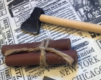 Miniature wooden handled axe and two small logs / doll house / firewood / Miniature supplies / mixed media supply / assemblage / altered art