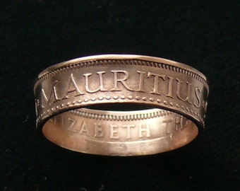 1975 Mauritius 2 Cents Bronze Coin Ring, Ring Size 7 1/2 and Double Sided