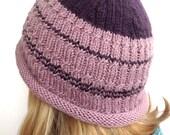 Beanie, Handknit Hat Dusty Rose Knit Beanie, Man Hat Women Teen, Child Beanie Handknit Beanie, Knitted Purple Hat, Valentine's Beanie Gift