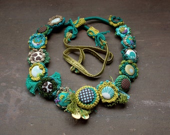 Long flower necklace, mixed media statement jewelry, turquoise chartreuse green, OOAK