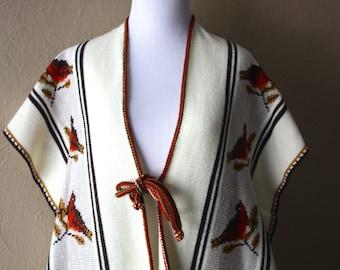 Vintage Bird Print Poncho Sweater Vest