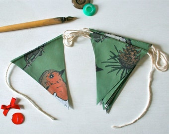 Christmas Bunting Cute Bunting Robin Paper Flags