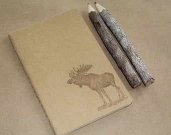 Mini Moose Hand Stamped  Journal