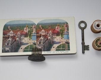Antique Stereoscope Card No.14 Birdseye View from Buffalo Tower Home Decoration Paper Ephemera