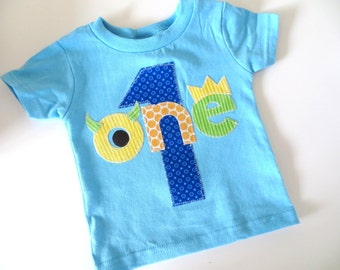 Monster Birthday Shirt First Birthday Boys Shirt gift photo prop funny aqua, blue, orange, lime