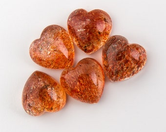 Natural Sunstone Gemstone Heart Calibrated Cab Size 4 mm, 5 mm, 6 mm, 7 mm, 8 mm 10 mm, 12 mm