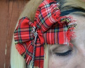 Plaid bow streatch headband for women and teen girls