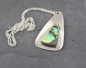 Steel 1970's Vintage Abalone Pendant Necklace