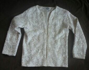 Vintage pearl & sequined sweater - 100% wool