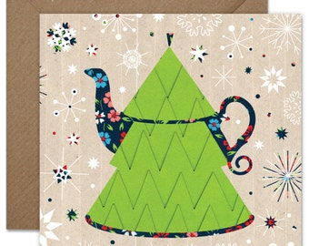 Christmas Tree Shaped Teapot Greeting card or greeting card set