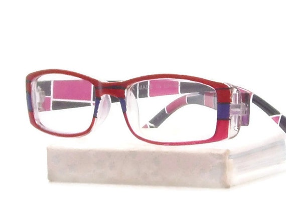 plaid reading glasses 100 strength handpaintd by