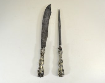 CARVING KNIVE set Alfred Williams Antique // Rivington Works Sheffield // silver plate 1910