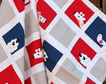 Baby Crib Travel Stroller Blanket  ANIMALS red white and blue