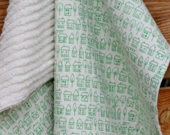 Modern Baby Travel BLANKET and BIB SET - Green Little Houses Summerville Ready to ship