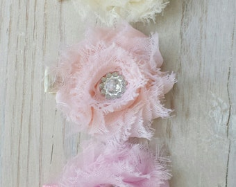 Mini Shabby Clip Set - Pink, Peach, Ivory