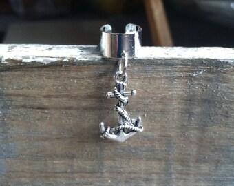 Anchor Ear Cuff - Ear Cuff, Cartilage Earring, Anchor Earring - Silver Plated Ear Cuff