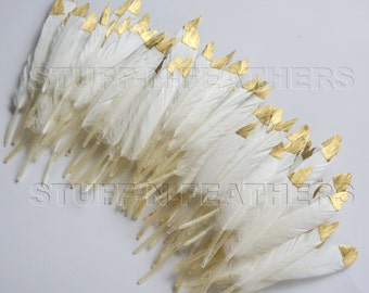 Bulk / Wholesale GOLD dipped natural white feathers - metallic gold hand painted duck feathers / 3-4.5 in (7.5-11.5 cm) long / FB120-3G