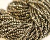 Pyrite Faceted Rondelles, 3.5 - 4 mm, 7 inches GM2705FR/4/2