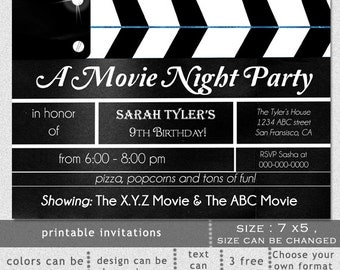 movie party invitations printable Josemulinohouseco